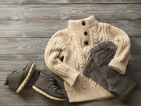 Fashion,Children's,Clothing,,Shoes,(knit,Sweater,,Jeans,,Suede,Boots).,Outfit